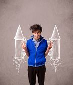 Cute young man with jet pack rocket drawing illustration