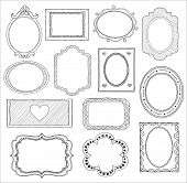 stock photo of oval  - Hand drawn doodle frame set - JPG