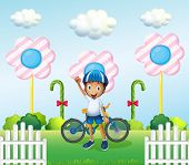 Illustration of a happy boy at the candyland with his bike