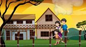 Illustration of a family walking in front of the wooden houses