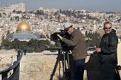 Cameramen In Israel With Rail