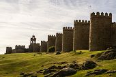 Scenic Medieval City Walls Of Avila, Spain, Unesco List