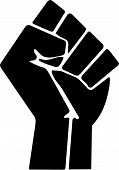 foto of clenched fist  - Symbol of revolution and defiance used for various movements including black power and occupy - JPG