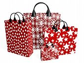 Red Shopping Bags In Bold Prints
