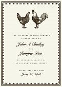Vector rooster and hen wedding invitation template. Easy to edit. Great for invites and announcement
