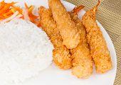 Fried Shrimp Ebi Tempura and rice in white plate