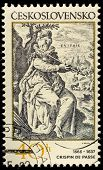 CZECHOSLOVAKIA - CIRCA 1982: postage stamp shows engraving of Crispin de Passe, circa 1982