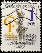 CZECHOSLOVAKIA - CIRCA 1986: Stamp, printed in Czechoslovakia devoted to 90 years to Czech philharmonic society, circa 1986
