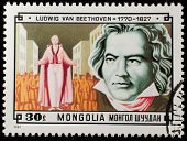 MONGOLIA- CIRCA 1981: A stamp printed in Mongolia shows picture of grate composer Ludwig Van Beethov