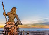 stock photo of trident  - Statue of King Neptune in Virginia Beach - JPG
