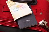 passports and red travel case