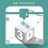 3D Printer Icon With Flat Design