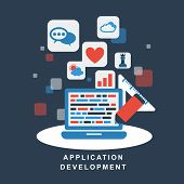 Flat Design Concept Of Development Process An Application