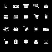 Shipment Icons With Reflect On Black Background