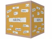 Surfing 3D Cube Corkboard Word Concept