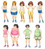picture of skinny  - Illustration of the fat and skinny people on a white background - JPG