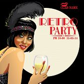 Smiling Girl With Champagne.retro Party.design Template