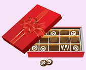 Red And Gold Box Of Fancy Chocolates