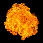 foto of fireball  - Fireball explosion black background  - JPG