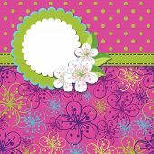 Spring Design Template.cherry Flowers Background And Polka Dot