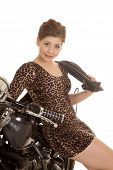 Woman Leopard Dress Motorcycle Sit Sit Smile Jacket Over Shoulder