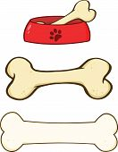 Dog Bone and Dog Bowl Illustrations. Set Collection