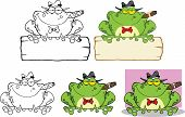 stock photo of mobsters  - Mobster Frog Over A Sign Cartoon Mascot Character - JPG