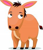 stock photo of donkey  - Vector illustration of Cute donkey cartoon isolated on white background - JPG