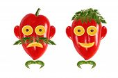Healthy Eating. Funny Men's Faces Made Of Vegetables And Fruits With Open-eyed