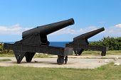 foto of el morro castle  - The cannon at the fortress of El Morro in Cuba - JPG