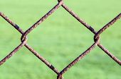 image of chain link fence  - Detail of an old rusting chain link fence - JPG