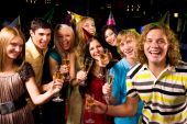 pic of birthday party  - Portrait of glad people in smart clothing toasting at birthday party - JPG