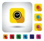 Flat Design Vector Icon - Button With Simple Clock Or Watch Signs