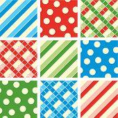 Nine seamless patterns - polka-dot, plaid, stripes