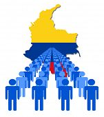 Lines of people with Colombia map flag vector illustration