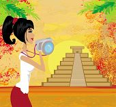 pic of ziggurat  - tourist girl photographs Mayan Pyramid - JPG