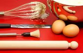 Confectioner Utensils With Eggs And Mixture