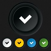 Check sign icon. Yes button.