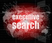 Executive Search Word On Digital Screen, Mission Control Interface