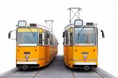 stock photo of tram  - Old orange Budapest trams over the white background - JPG