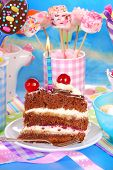 Birthday Cake With Candle On Festive Table