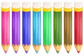 Illustration of pencils on white