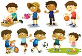 Illustration of kid playing various sports