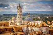 Aerial view over Siena: Siena Cathedral, Italy