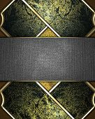 Gold Texture With Dark Insets And A Metal Name Plate For Writing