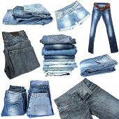 Collage of jeans isolated on white