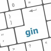 Gin Word On Keyboard Key, Notebook Computer Button