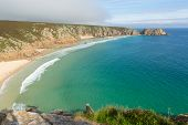 Porthcurno beach Cornwall England UK by the Minack Theatre