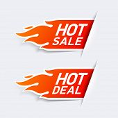 Hot Sale and Hot Deal labels. Vector.
