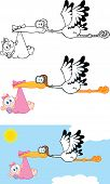 Stork Carrying A Baby Girl Cartoon Characters. Set Collection